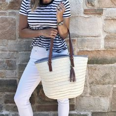 Under $50 Friday: Straw Bags | my kind of sweet | summer style | white denim | postpartum | casual style