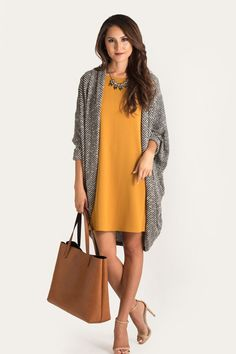 Love the dress (maybe not mustard for my skin) and the long sweater with accessories (though more comfy heels). great for the office, casual but professional