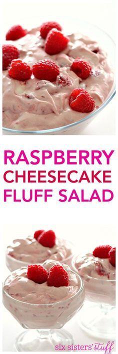 Raspberry Cheesecake Fluff Salad on SixSistersStuff.com