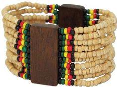 Bob Marley Reggae Rasta Ten Row Coco Beaded Stretch Bracelet: Health & Personal Care