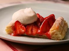 Strawberry-Rhubarb Tart: A frozen puff pastry makes these spring tarts easy to put together.