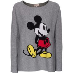 Rosa von Schmaus Mickey OS Grey Patterned cashmere sweater (1.260 BRL) ❤ liked on Polyvore featuring tops, sweaters, shirts, disney, gray shirt, oversized cashmere sweater, cashmere sweater, grey cashmere sweater and gray sweater