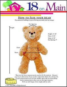 Sewing Teddy Bear How to size a pattern 18 On Main Bear E. Lovebug Plush Toy Clothes Pattern 15 to 18 inch Build-A-Bear Bears Doll Clothes Patterns, Clothing Patterns, Sewing Patterns, Bear Patterns, Sewing Hacks, Sewing Crafts, Sewing Projects, Sewing Toys, Sewing Ideas