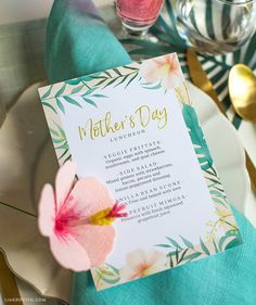 Printable #MothersDay menu at www.LiaGriffith.com: