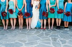 diff styles & shades of blue bridesmaid dresses... love the blue petticoat on the bride too