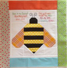 dream quilt create: Bee in my Bonnet Row Along, bee quilt label