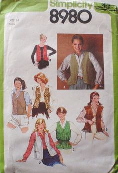 Women's Vintage Sewing Pattern  Set of Vests  by Shelleyville, $5.00