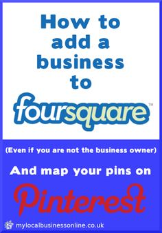 How To Add a Business to FourSquare for Pinterest Map Pins [Video] Marketing Mail, Online Marketing, Social Media Marketing, Business Video, Business Tips, Online Business, Design Blogs, Web Design, Map Pins