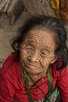 Nepal.  Aww, i can't help it, i just think wrinkles and age should go together, look how cute she is :)