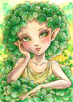 """Open Edition ACEO Print - 2.5"""" x 3.5""""- Clover Pixie - Shamrock Elf - Fairy with Green Clover Leaf Hair - Fantasy Art by Mitzi Sato-Wiuff"""