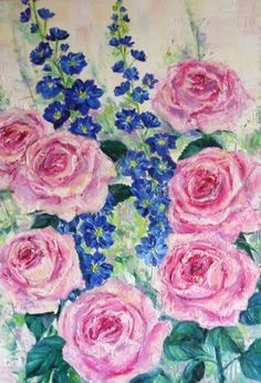'Roses' oil on canvas by Amanda Wright