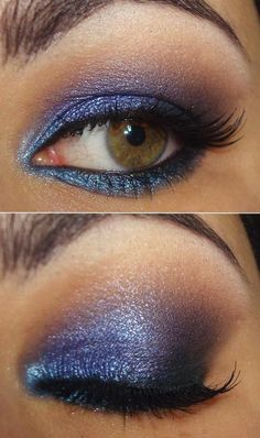 Dark blue and black eye makeup w/ a bit of sparkles.