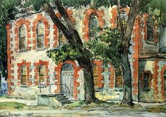 Old Dutch Building, Fishkill, New York, 1916, Childe Hassam