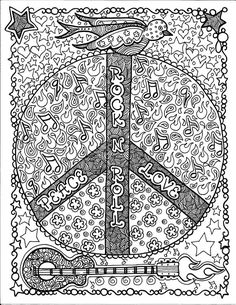 Instant Download Rock and Roll Peace Coloring Page Art Fantasy