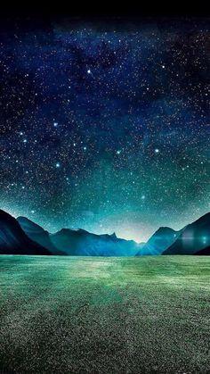 Dark Night Starry Shiny Mountain Grass Field #iPhone #6 #plus #wallpaper