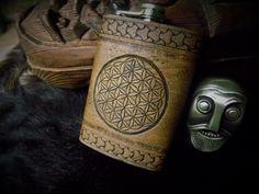 Flower of Life  8oz Flask  Sacred Geometry by BeastmanCaravan