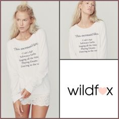 """✨WildFOX """"This Mermaid Likes"""" List Beach Jumper✨ Adorable Wildfox """"This Mermaid Likes"""" List Baggy Beach Jumper✨Sold Out✨NWTs✨Size Large✨ Wildfox Tops Sweatshirts & Hoodies"""