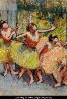 Dancers in Lemon and Pink - Edgar Degas - www.edgar-degas.org