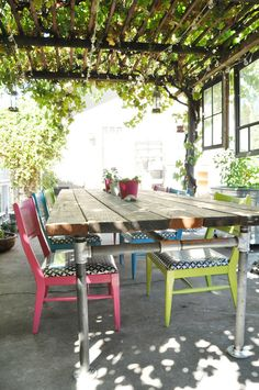 This is a website with lots of DIY tutorials (table and chairs on the picture) I like the patio/pergola with the vines because it reminds of vacationing in Greece...