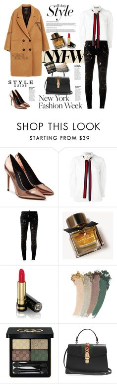 """""""Pack for NYFW/ off duty style"""" by ellie366 ❤ liked on Polyvore featuring Alexander Wang, Gucci, Dsquared2, Burberry, NYFW, gucci, Packandgo, camelcoat and offdutystyle"""