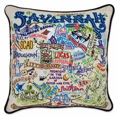 Hand Embroidered CatStudio Savannah Pillow
