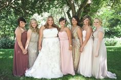 Bride and Bridesmaids in Long Dresses