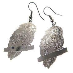 Detailed Barn Owl Shaped Dangle Earrings Dark Silver | Animal Jewelry