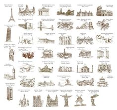 Wedding Table Cards Famous Landmarks of the by WeddingMonograms