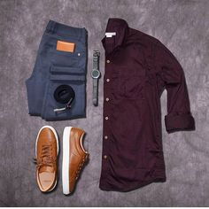 Outfit grid - Burgundy & grey