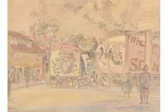 JOHN DOMAN TURNER Arrival of the Fair, Mitcham Watercolour Signed Inscribed beneath the mount wit