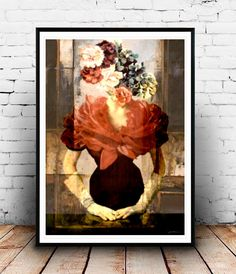 Woman of flowers Mixed media collage fashion por SoulArtCorner
