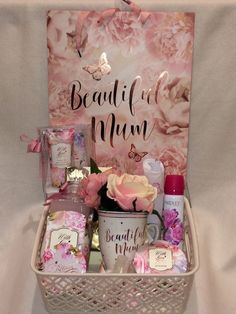 This stunning gift set also comes with a beautiful matching gift bag. I will finish your gift off beautifully with cellophane and a pink bow. WITH LOVE Hand care set ( includes Peony & white Jasmine soothing hand cream and nail file. Mothers Day Baskets, Cute Mothers Day Gifts, Mother's Day Gift Baskets, Diy Gifts For Mom, Mothers Day Crafts, Homemade Gifts, Mother Gifts, Cute Gifts, Gift Ideas For Mum
