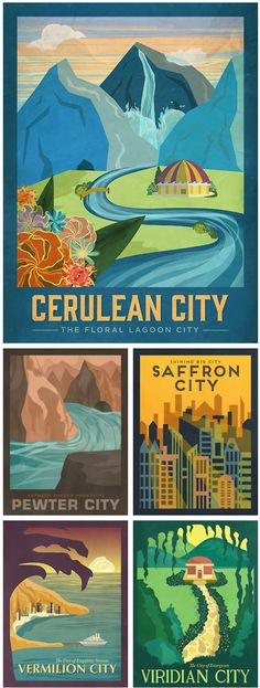 Pokemon Travel Posters  - Created by Alice Mongkongllite - Saffron and Cerulean for me :)