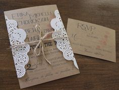 Rustic Wedding Invitation,Vintage Wedding Invitation,Doily Wedding Invitation,Kraft Wedding Invitation, Navy Wedding Invitation,Rustic Chic by CCPrintsbyTabitha on Etsy https://www.etsy.com/listing/193996247/rustic-wedding-invitationvintage-wedding
