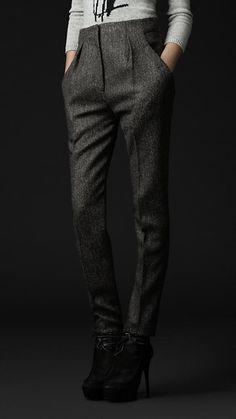 Herringbone Wool Trousers | Burberry