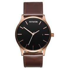 Men's Rose Gold cased Brown leather watch from MVMT Watches. This Brown leather version is a versatile watch, fitting in casual, formal and professional setting