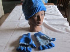 Adult hat and texting fingerless gloves by CraftyarnsbyGillian, $29.00