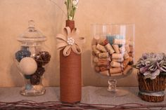 Dark brown twine wrapped wine bottle with embellishment. Wine Bottle Decor by SarahBestCollections on Etsy https://www.etsy.com/listing/274920256/dark-brown-twine-wrapped-wine-bottle