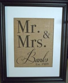 Personalized - Customized - Monogrammed - Names and Est. Dates Burlap Print. $18.00, via Etsy.