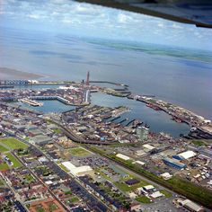 aerial view of the docks Retro 2, Holiday Park, Aerial View, Old Town, Airplane View, 1980s, City Photo, Birth, England