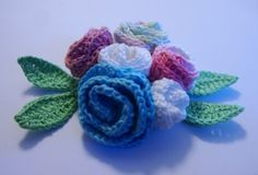 Crocheted multicolor bouquet of roses with by MotivesAndPatterns, $8.99