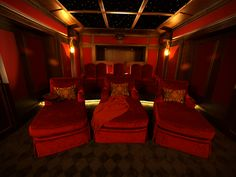 Elite Home Theater Seating With Red Glamour Colour