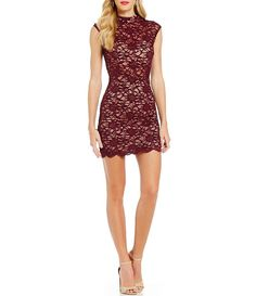 B. Darlin Mock Neck Illusion Waist Lace Sheath Dress