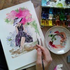 Lady, high tea Watercolor illustration art Artist: Maryna Kovalchuk  instagram.com/dyvokolir