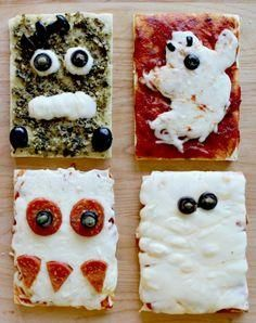DIY Homemade Halloween Pizza - Love this idea for  a Halloween Party - the kids could create their own.