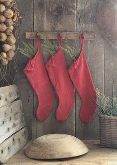 Primitive Country Christmas Red Holiday Stockings *Set of 3