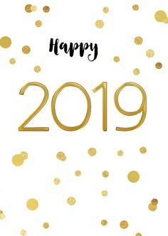 Nieuwjaarskaart 2019 confetti goud, verkrijgbaar bij #kaartje2go voor €1,89