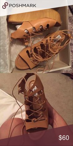 Steven madden lace up wedges Lace up , tie up Steve Madden wedges. Runs small! It says 8 but definitely a 7. Brand new with box Steve Madden Shoes Wedges