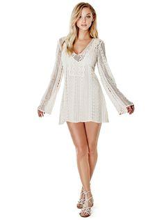 Adalina Long-Sleeve Crochet Dress | GUESS.com