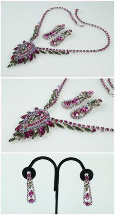 Vintage Juliana Pink AB Rhinestone Necklace by BelleRoyaleVintage